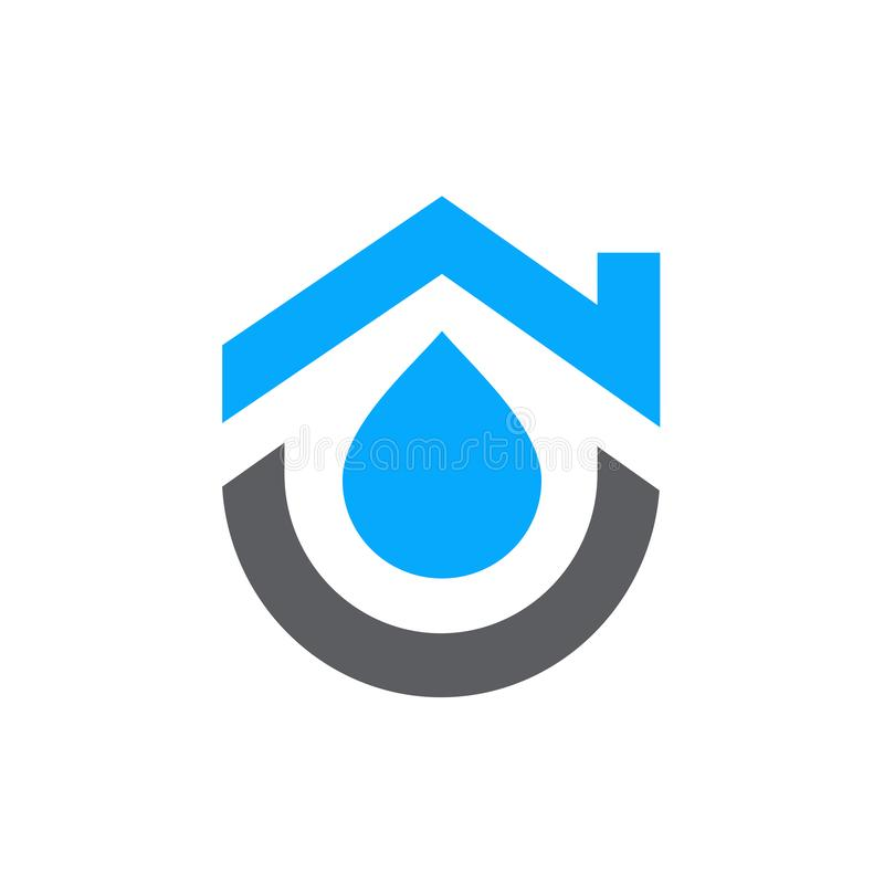 House combined with water symbol. Home plumbing logo design - Vector royalty free illustration