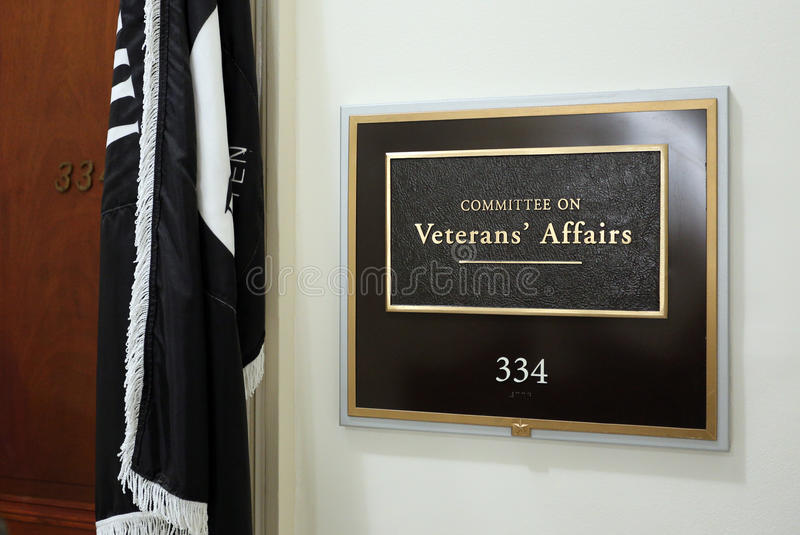 House Committee on Veterans Affairs. Washington, DC, USA - July 18, 2017: A sign at the entrance to a House Veterans Affairs Committee hearing room. The United stock photo
