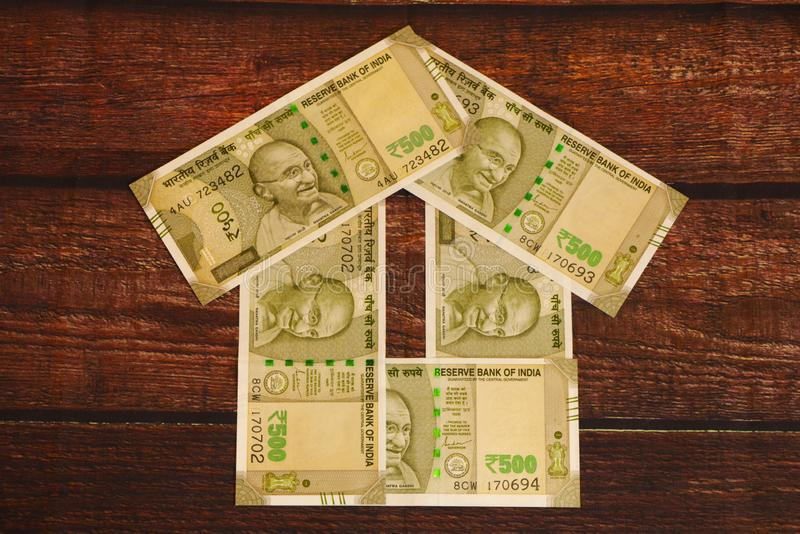 House - Indian Currency. House concept. House made with Indian currency banknotes stock photo