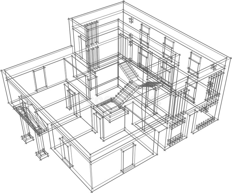House consrtuction. Draft view of the building. House for one family stock illustration
