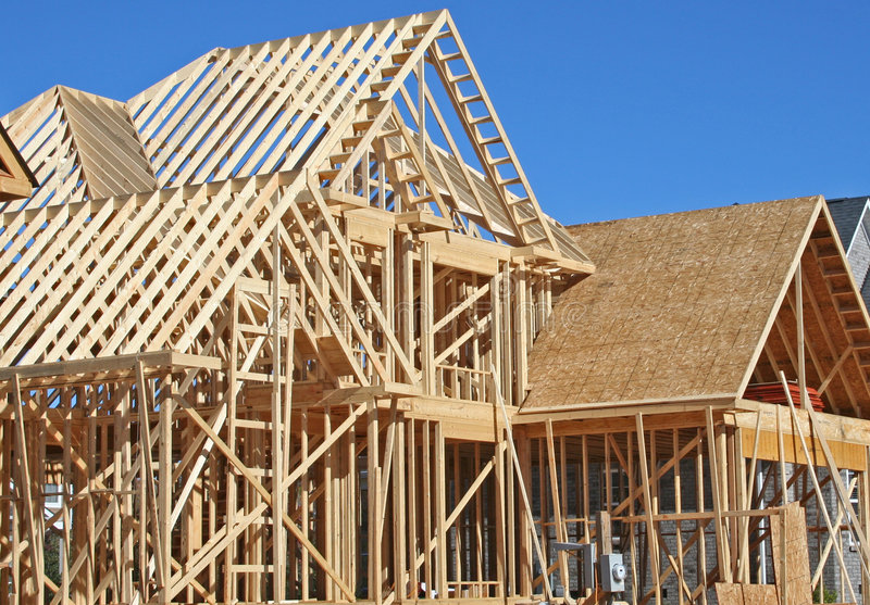 House construction. In the framing stage royalty free stock image