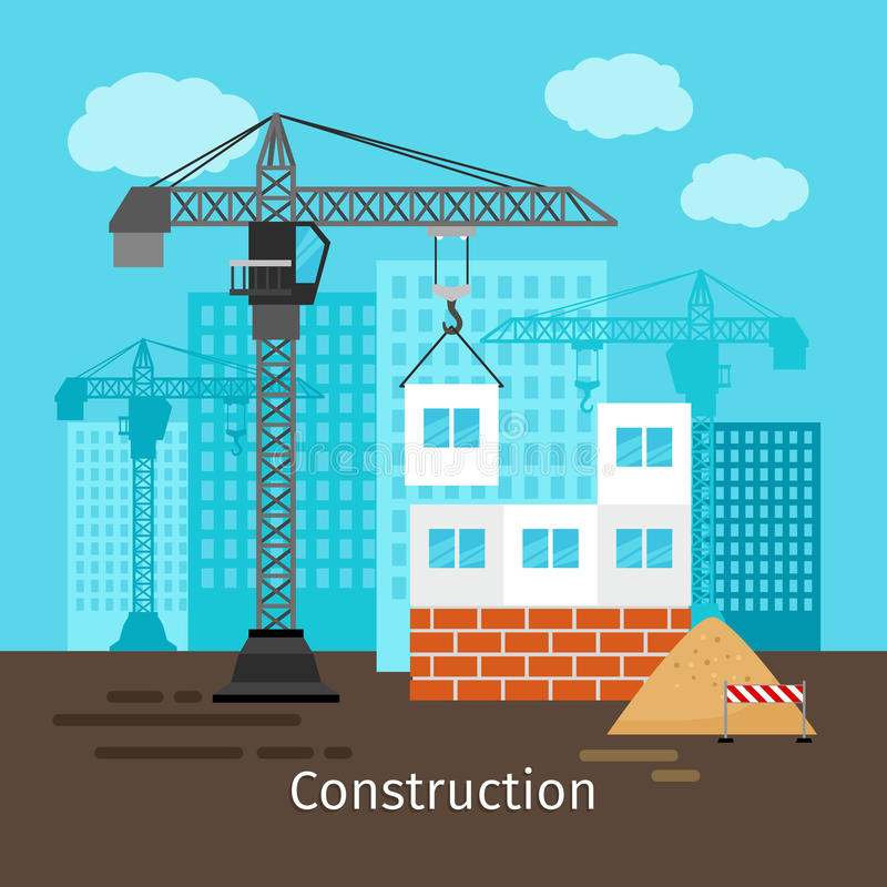 House construction with building crane royalty free illustration