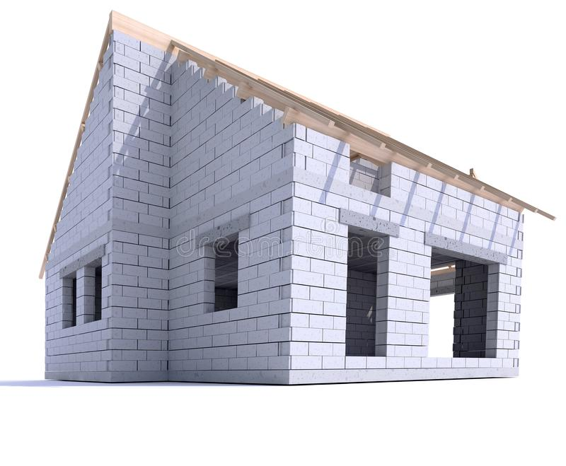 House construction ground view vector illustration