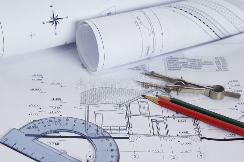 The house construction plan stock images