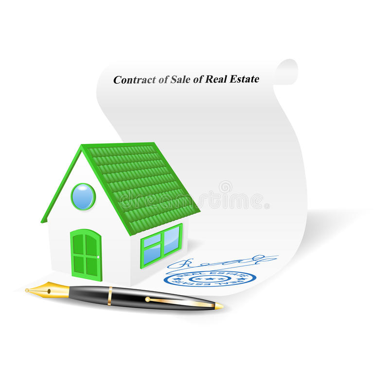 House With Contract Of Sale Of Real Estate. Vector Illustration