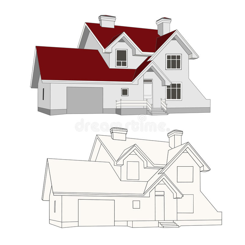 House, cottage. Beautiful modern house cottage illustrations buildings royalty free illustration