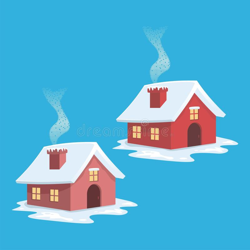 House - cottage in winter and snowy winter time. Cute, lovely cartoon design, suitable for your element of winter theme project stock illustration