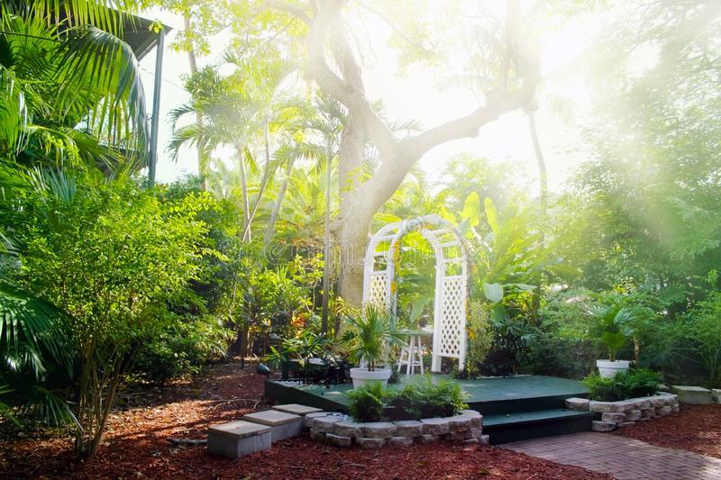 House courtyard and the garden of the Ernest Hemingway Home and Museum in Key West, Florida. stock photo