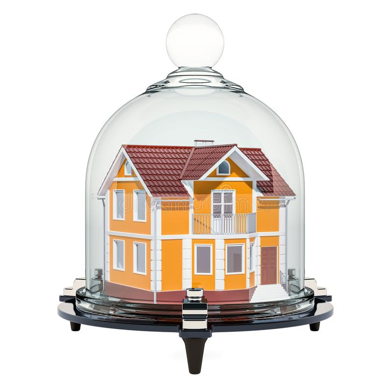 House covered by glass bell. Home security and protection concept, 3D rendering vector illustration