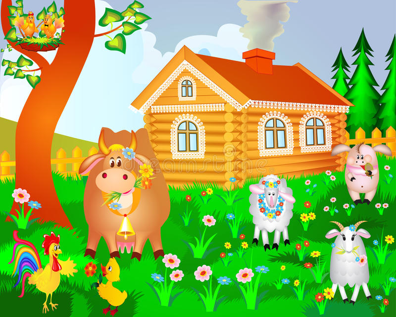 Download House Cow Pig Birds And Sheep Stock Vector - Illustration of garden, cartoon: 26129100