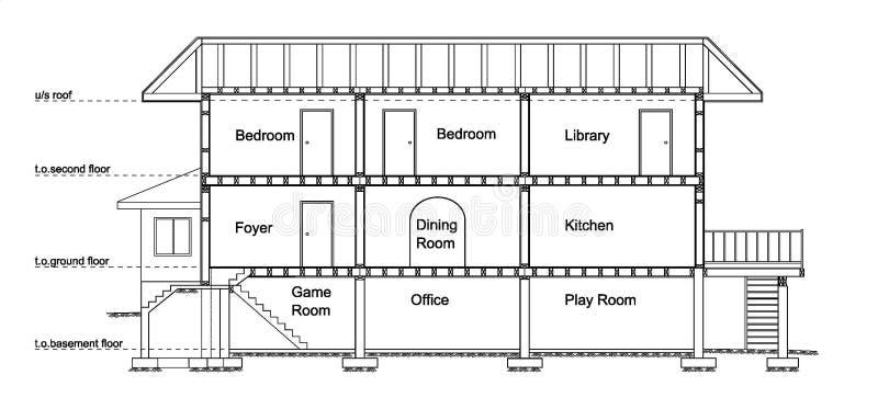 House cross section vector illustration