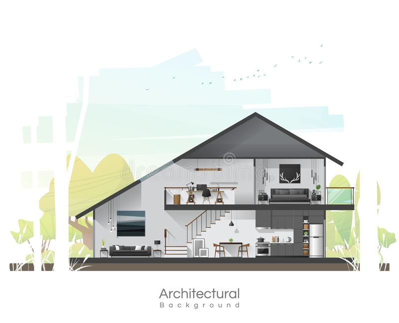 House cross section with furniture and peaceful landscape background royalty free illustration