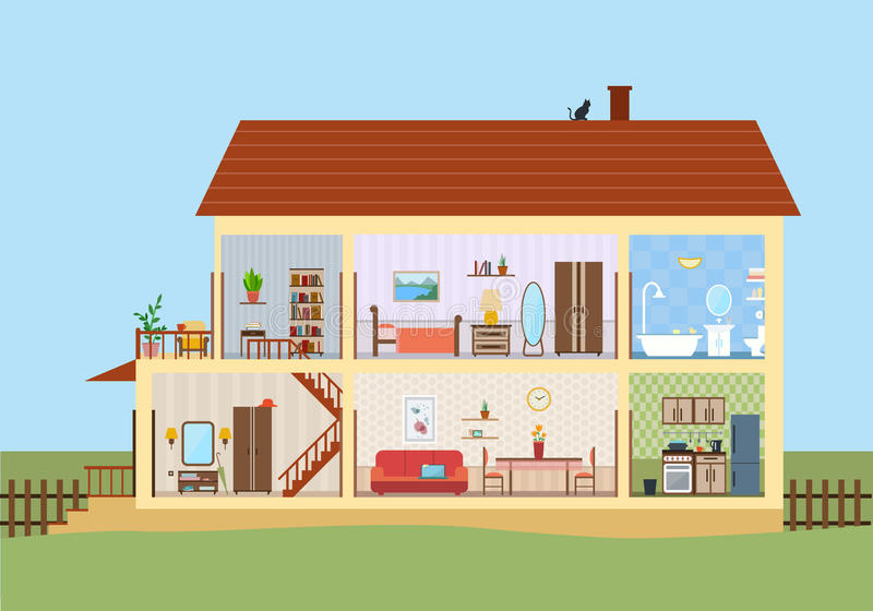 House in cut. Detailed modern house interior. stock illustration