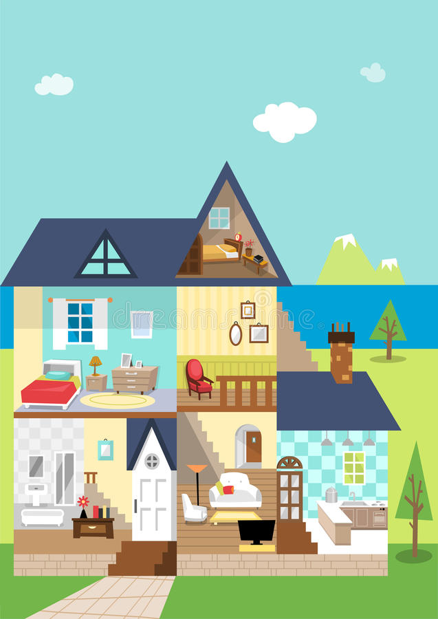Free House Cutaway And Decoration In The Daytime Royalty Free Stock Photography - 55512837