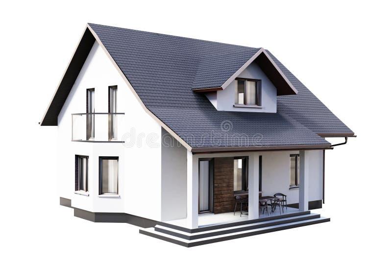 House 3d modern rendering on white background. royalty free illustration