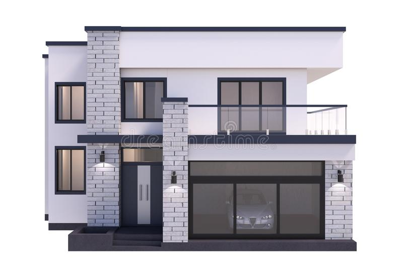 House 3d modern rendering on white background. royalty free illustration