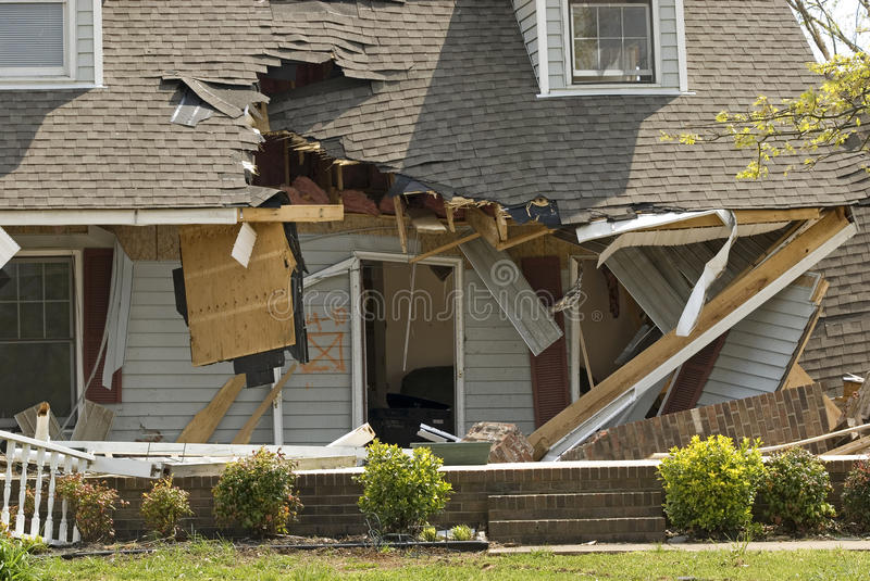 House Damaged by Tornado royalty free stock photos