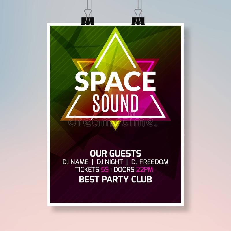 House dance music poster. Music party flyer banner design. Disco night club event template vector illustration