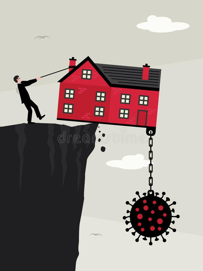 Free House Debt Cliff Virus Royalty Free Stock Photography - 181611237