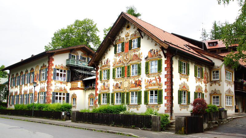 House decorated with frescoes. Oberammergau stock photography