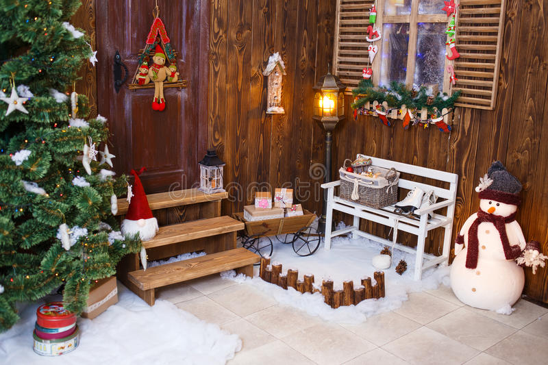 House decorated and lighted for Christmas, New royalty free stock photo