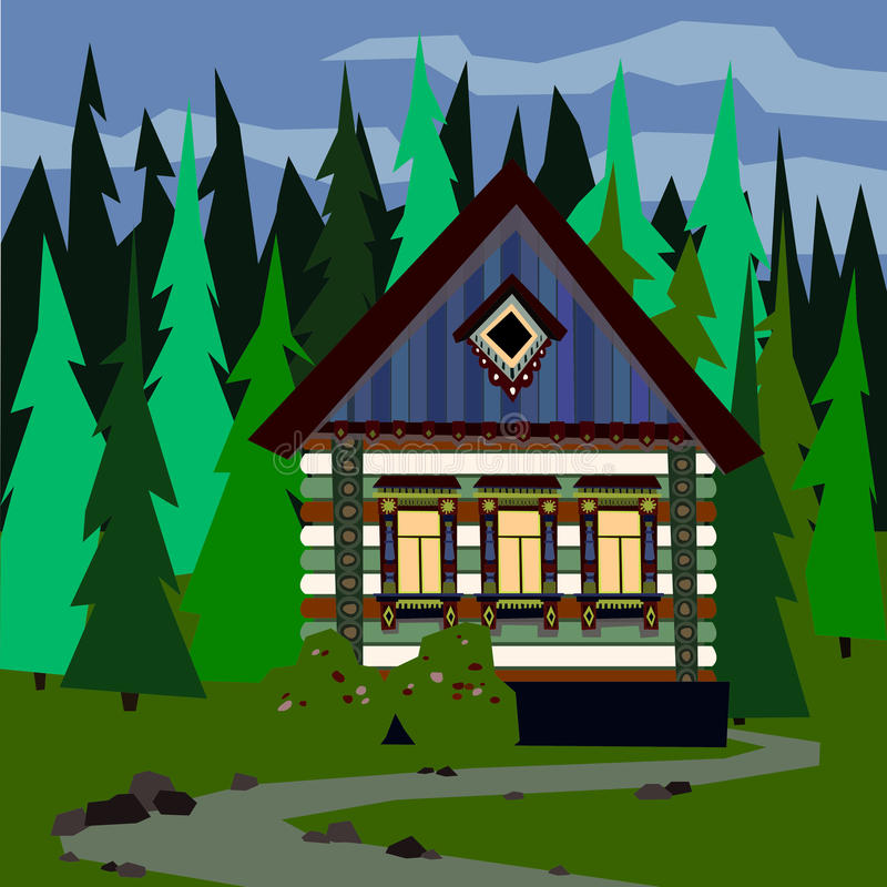 House in a dense forest. Easy editable vector illustration stock illustration