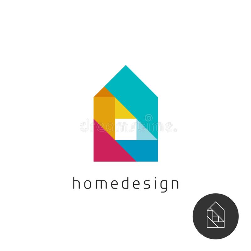 House design concept colorful rainbow geometric elements logo. Color mosaic style home building symbol royalty free illustration