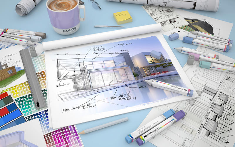 House design modifications stock illustration