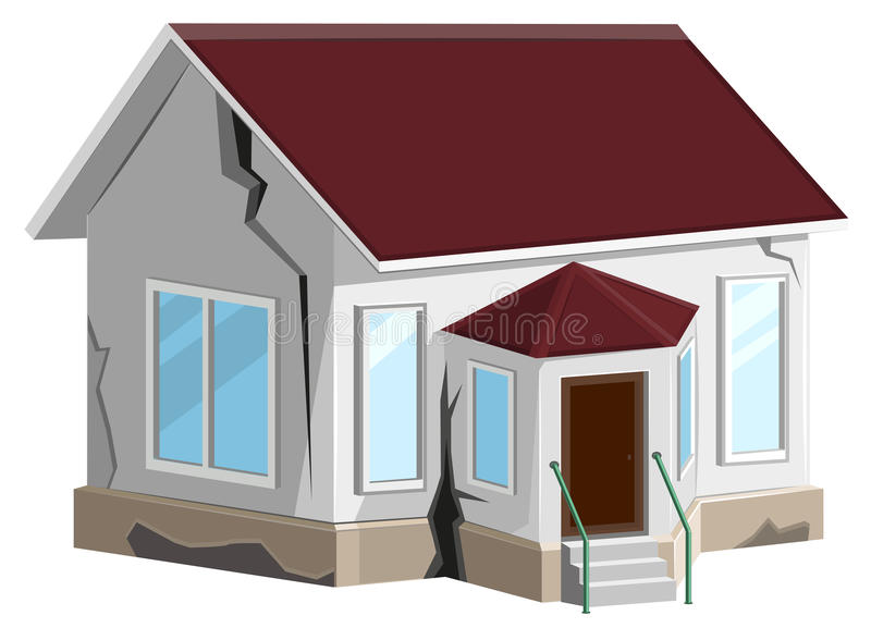House destroyed. Cracks in walls of home. Property insurance. Errors construction stock illustration