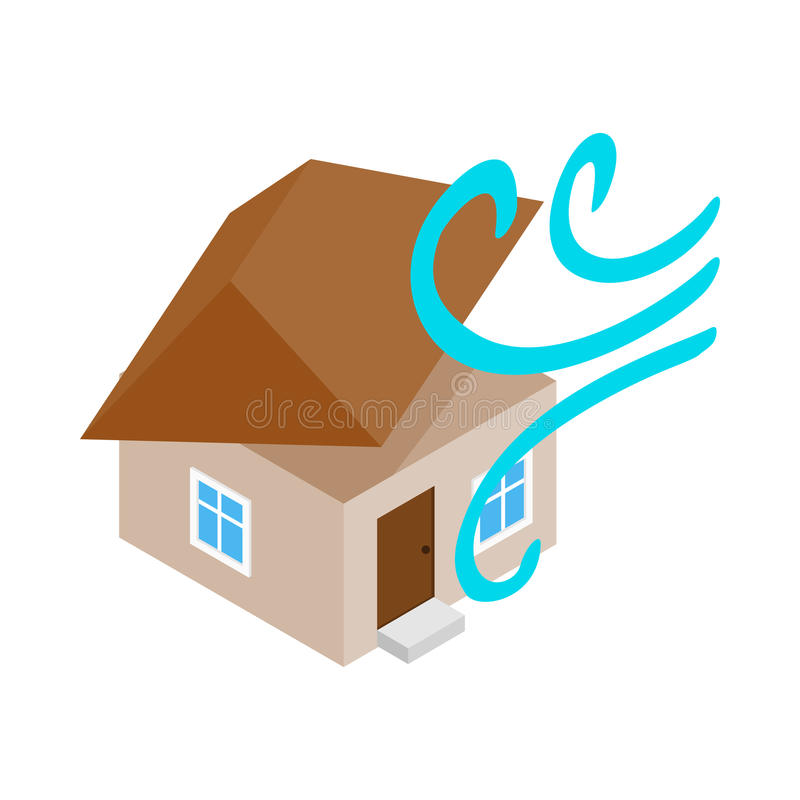 House destroyed by hurricane icon royalty free illustration