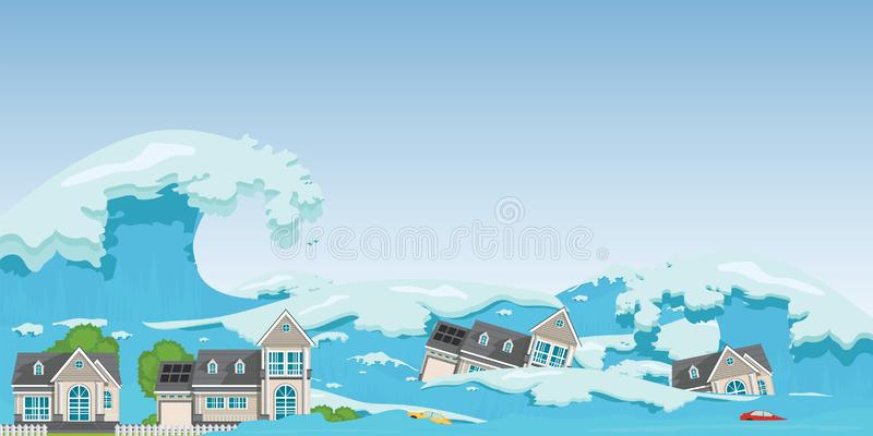 House destroyed by Tsunami waves. Tsunami tidal wave washing through houses and cars out of the way, Natural disasters vector illustration royalty free illustration