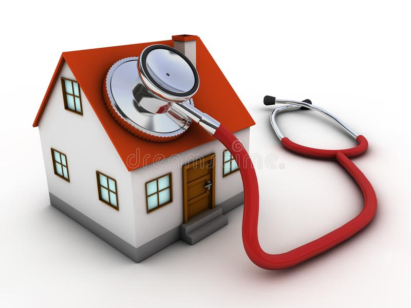 House doctor. House and stethoscope. Computer render