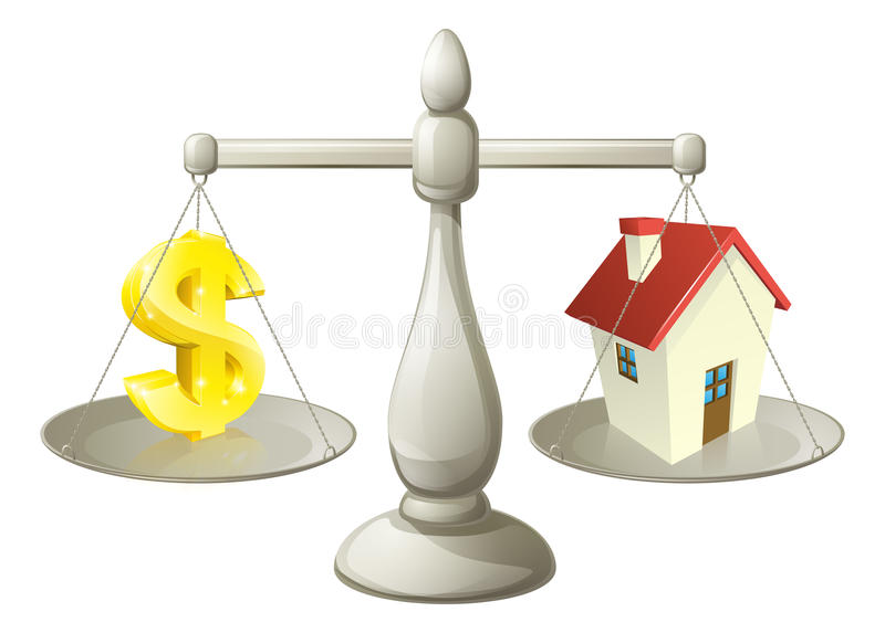 House dollar scales concept. House money Dollar scales concept. Dollar sign on one side of a scale and a house on the other. Can have several meanings relating vector illustration