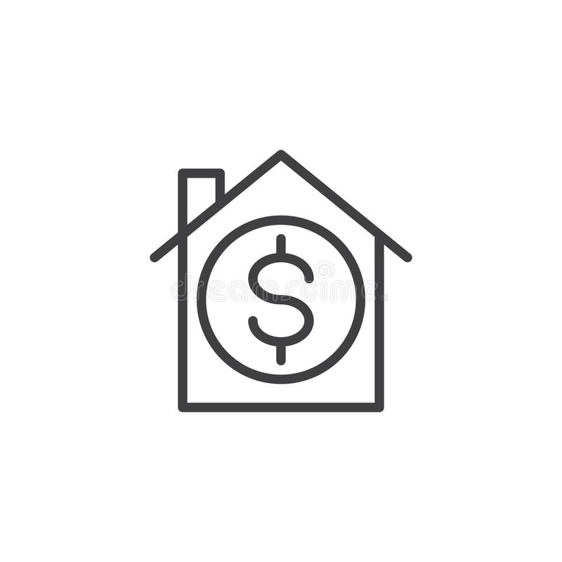 House with dollar sign line icon. Outline vector sign, linear style pictogram isolated on white. Real estate, property sell symbol, logo illustration. Editable vector illustration