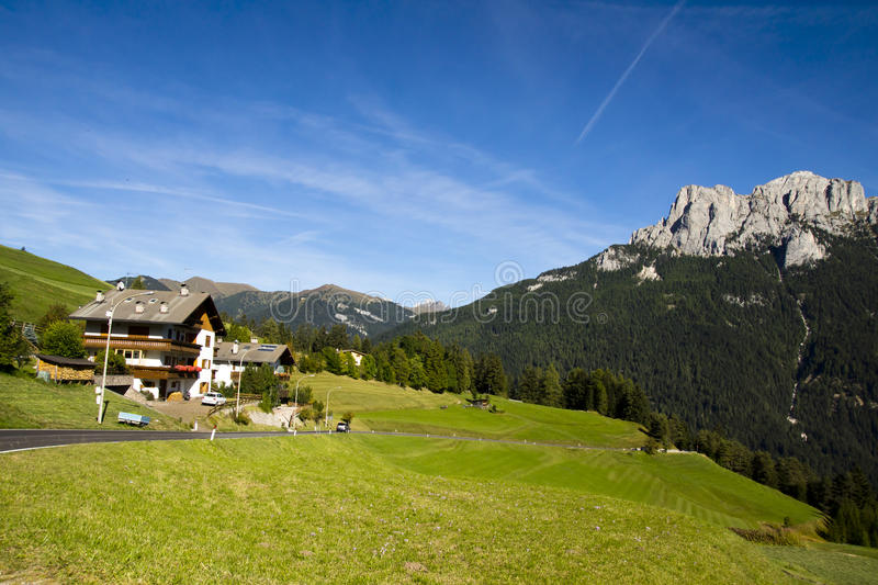 House in the Dolomites, Italy stock image