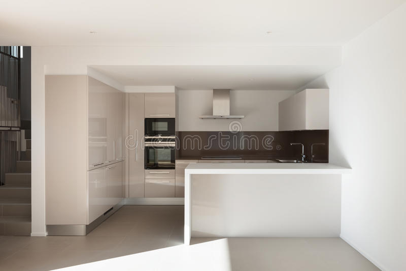 House, domestic kitchen. Interior of a modern apartment, domestic kitchen royalty free stock photo