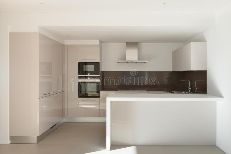 House, domestic kitchen. Interior of a modern apartment, domestic kitchen royalty free stock images