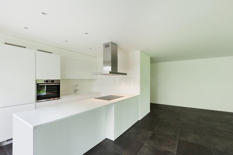 House, domestic kitchen. Interior of new apartment, white domestic kitchen stock images