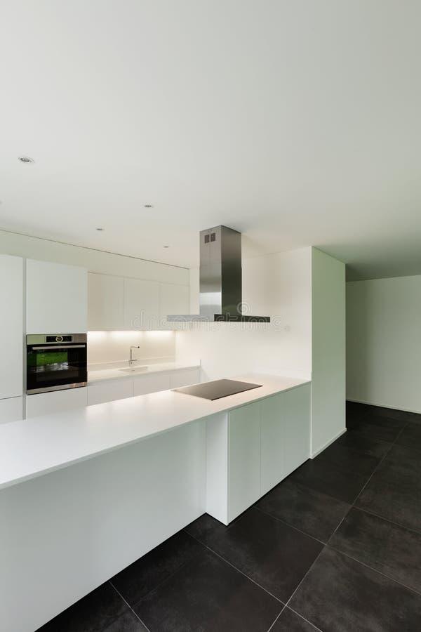 House, domestic kitchen. Interior of new apartment, white domestic kitchen stock photo