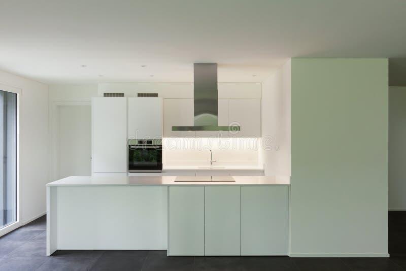 House, domestic kitchen. Interior of new apartment, white domestic kitchen stock image
