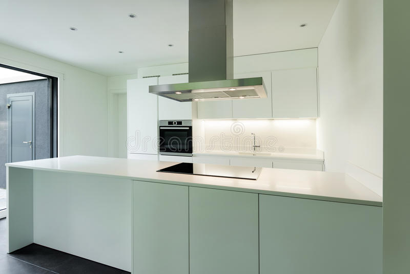 House, domestic kitchen. Interior of new apartment, white domestic kitchen stock photos
