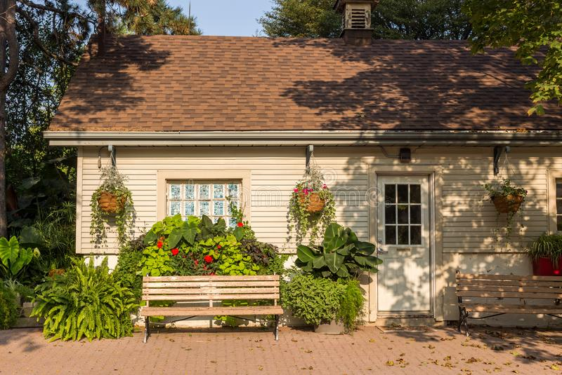 House door exterior benches greenery flowers stock images