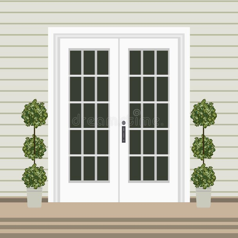 Free House Door Front With Doorstep And Mat, Steps, Window, Lamp, Flo Royalty Free Stock Photography - 133997817