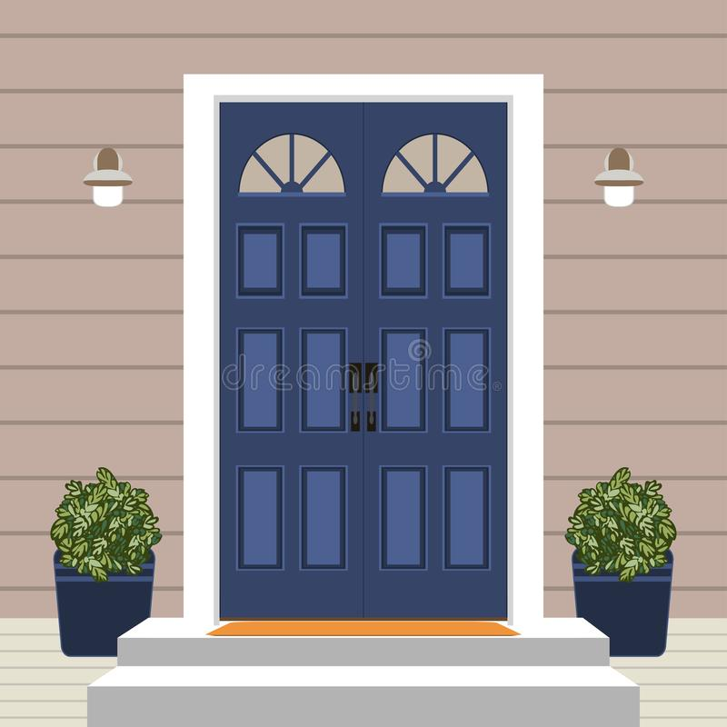 Free House Door Front With Doorstep And Mat, Steps, Window, Lamp, Flowers, Building Entry Facade, Exterior Entrance Design Illustration Stock Images - 134567714