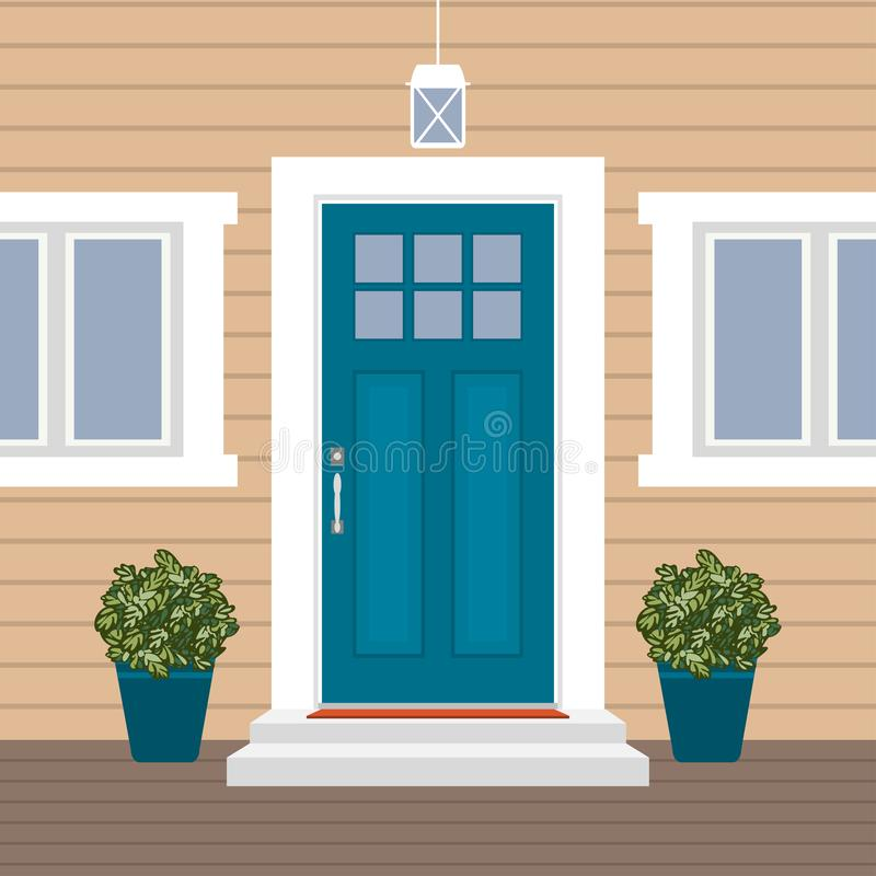Free House Door Front With Doorstep And Mat, Steps, Window, Lamp, Flowers, Building Entry Facade, Exterior Entrance Design Illustration Stock Photo - 134568180