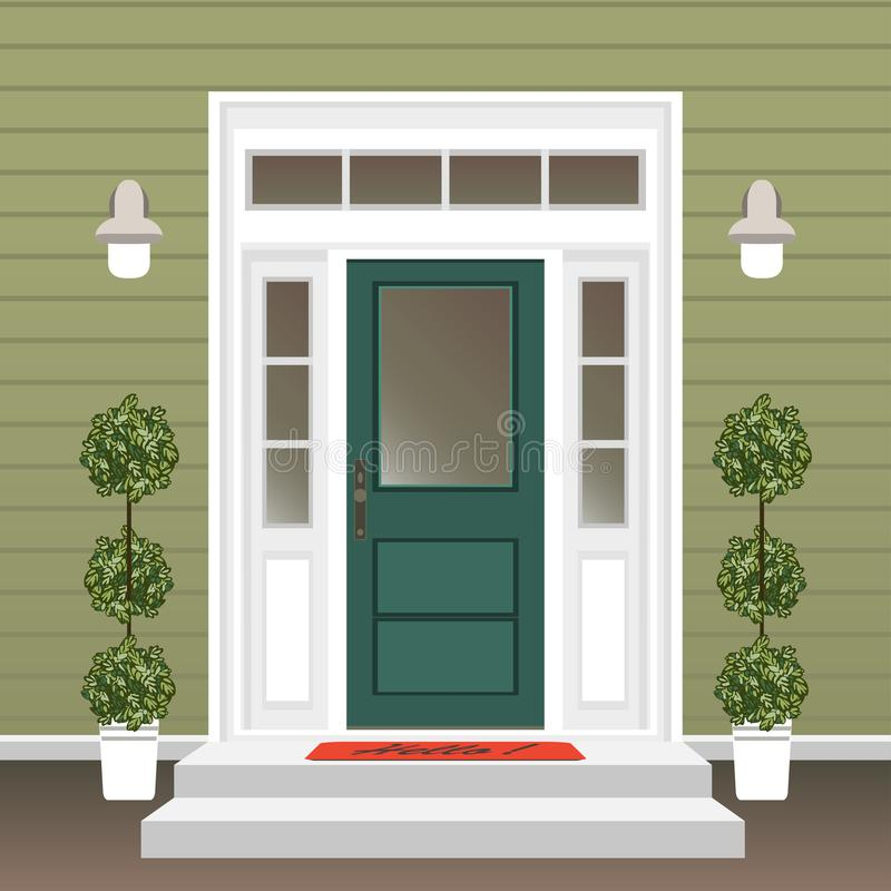 Free House Door Front With Doorstep And Mat, Steps, Window, Lamp, Flowers In Pot, Building Entry Facade, Exterior Entrance Design Stock Photography - 135983542