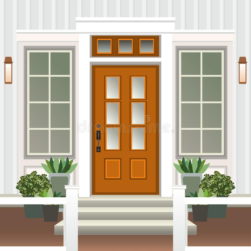 Free House Door Front With Doorstep And Steps Porch, Window, Lamp, Flowers In Pot, Building Entry Facade, Exterior Entrance Design Royalty Free Stock Photo - 136574955
