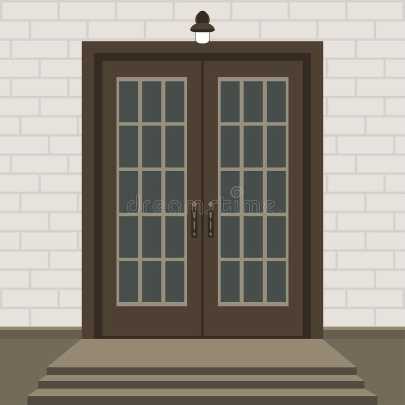 Free House Door Front With Doorstep And Steps, Window, Lamp, Flowers Stock Image - 133998131