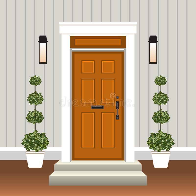 Free House Door Front With Doorstep And Steps, Window, Lamp, Flowers In Pot, Building Entry Facade, Exterior Entrance Design Royalty Free Stock Images - 136574889