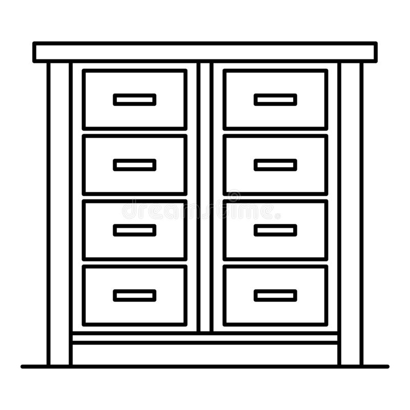 House drawer icon, outline style. House drawer icon. Outline house drawer vector icon for web design isolated on white background stock illustration